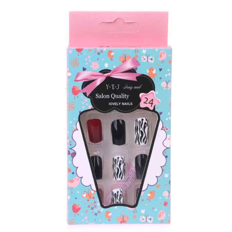 24 sztuk czarny czerwony krótki fałszywe paznokcie pełna porady Nail Art naklejki do paznokci narzędzie wyświetlacz U90F