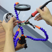 Flexible Table Clip Lighted Repair Magnifier Desk Clamp PCB Welding Third Helping Hand Soldering Magnifying Glass with Led Light