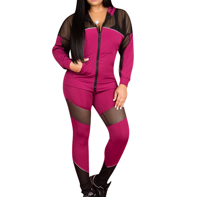 2019 Hot Design Sexy Lace Hooded Outfits Front Zipper Full Sleeve Top With Pants Tracksuits Black Pink Plus Size Casual 2PCS