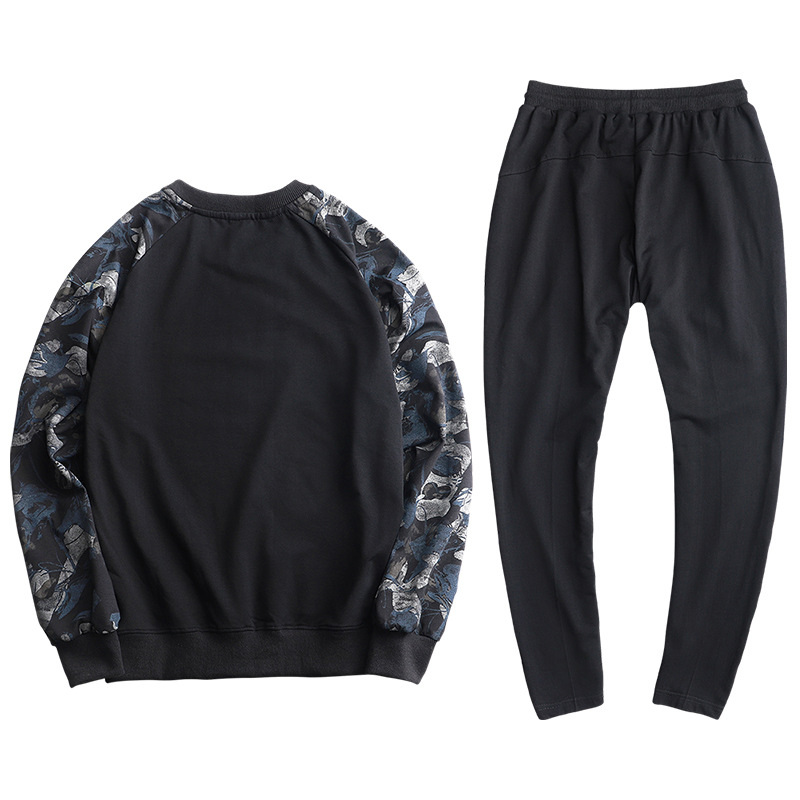 9XL Men Sport Suit Spring Autumn Casual Jogger Running Outfit Set Letter Printed Loose Male Sportswear Tracksuit Sweatshirt pant in Running Sets from Sports Entertainment