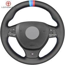 LQTENLEO черный чехол для рулевого колеса автомобиля из натуральной кожи DIY для BMW M Sport F10 F11(Touring) F07 F12 F13 F06 F01 F02 M5 F10