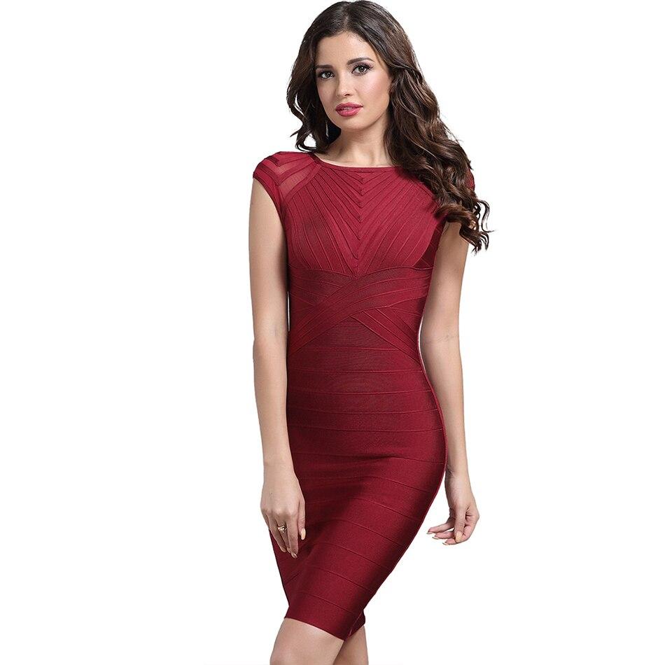 2019 vin rouge à manches courtes o-cou élégant dames moulante pansement robes mi-longues femmes célébrité soirée robe livraison directe