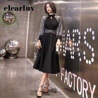 Sparkling Sequin Party Dresses DR318 Long Sleeve Elegant Prom Dress Black A Line Vestido De Fiesta High Collar Formal Gowns
