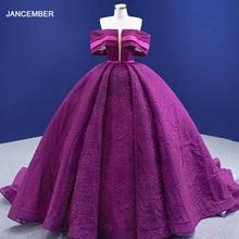 RSM67370 Fuchsia Evening Dress One-way Neckline Sunken Shoulder Sleeves Beaded Ball Banquet Vestido De Debutante Longo
