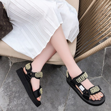 SWYIVY Sandals Women Summer Shoes Platform Flat Beach