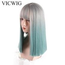 Vicwig синтетический парик для женщин серебристо серый градиент