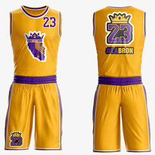 2019 king James Jerseys Basketball Jersey set Suit #23 Los Angeles Home Yellow Tops vest Special version LA BASKET Sports(China)