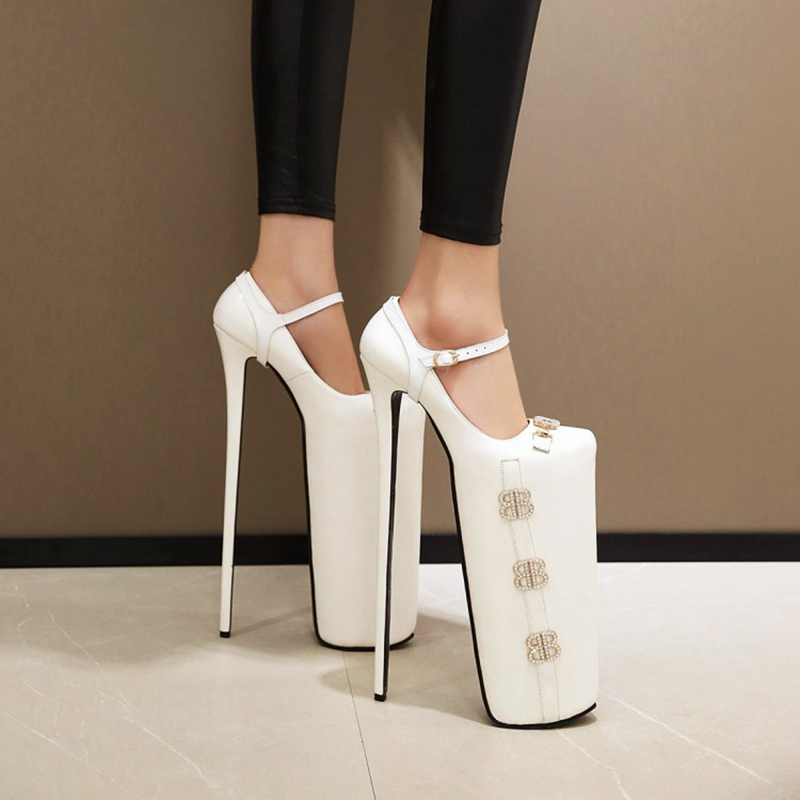Sexy Plus size 33-50 Women <font><b>30cm</b></font> <font><b>Heels</b></font> Super High <font><b>Heel</b></font> Steel Waterproof Platform Pipe Dance Celebrity Shoes woman ym-350-1 image