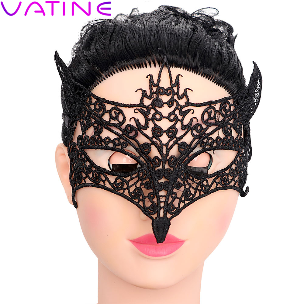 VATINE Fox Cutout Fetish <font><b>Sex</b></font> Toys for Couple <font><b>Sex</b></font> Black Lace <font><b>Eye</b></font> <font><b>Mask</b></font> Flirt Erotic Toys SM Bondage Slave Role Play Adult Games image