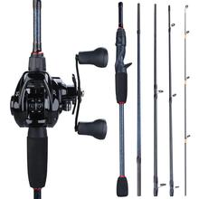Sougayilang 1 8m- 2 4m Portable Pole 5 Section Casting Fishing Rod and 12+1BB 7 0 1 Gear Ratio Baitcasting Reel Fishing Set cheap Rod+Reel Stainless Steel 1 8 m LAKE River Reservoir Pond stream Lure Rod Carbon Other 6-18lb 7-28g 1 8m 1 98m 2 1m 2 4m