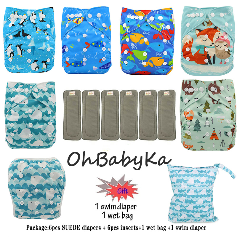 Baby Cloth Pocket Diapers 6 Pack, 6 Inserts, 1 Wet Bag,1 Swim Diaper Ohbabyka Brand Cloth Diapers Baby Reusable Nappy Newborn