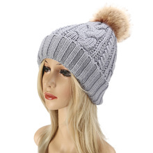 Fur Ball Pompom Winter Hats Women Knitted Thicken Warm Hat Cap Lady Solid Female Fashion Bonnet Femme
