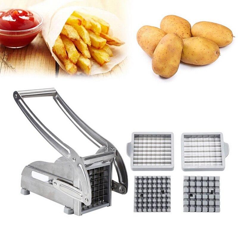 2 лезвия из нержавеющей стали, домашний слайсер для картофеля фри, картофеля, чипсов, полоски, резак, измельчитель, чипсы, инструмент для изго...