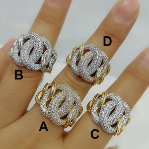 Image 2 - GODKI Luxury Link Chain Bold Rings with Zirconia Stones 2020 Women Engagement Party Jewelry High Quality