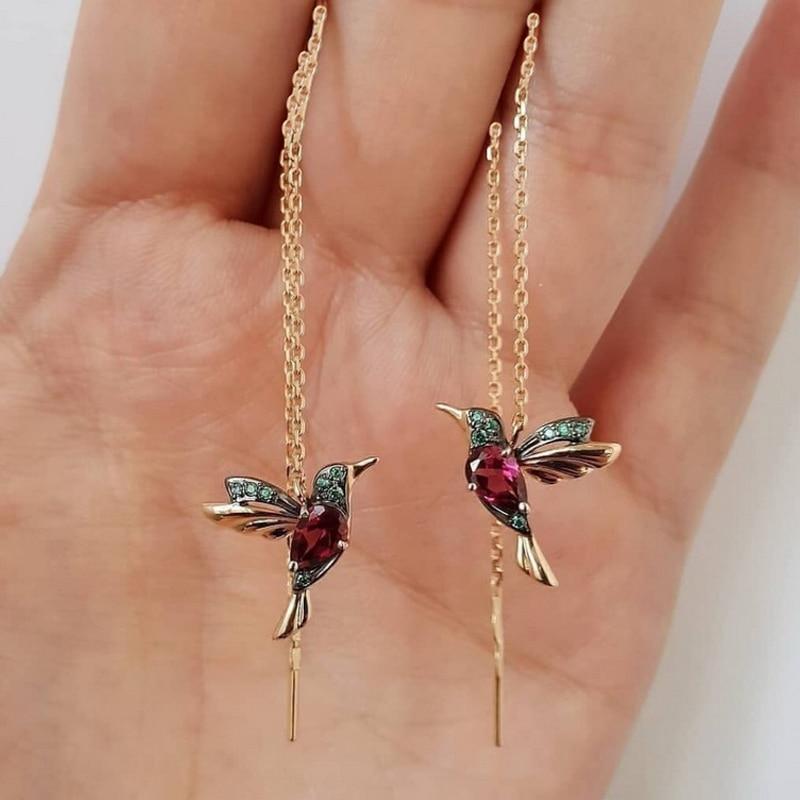 1 Pair Unique Long Drop Earrings Bird Pendant Tassel Crystal Pendant Earrings Ladies Jewelry Design 2 Colors Hummingbird Earring