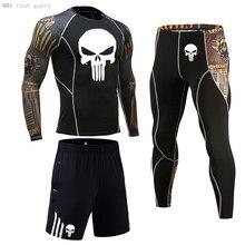 Ensemble de 3 pièces de sport pour hommes, collants de Compression Spo rtswear, vêtements d'entraînement, chemise tête de mort, Jogging, survêtement
