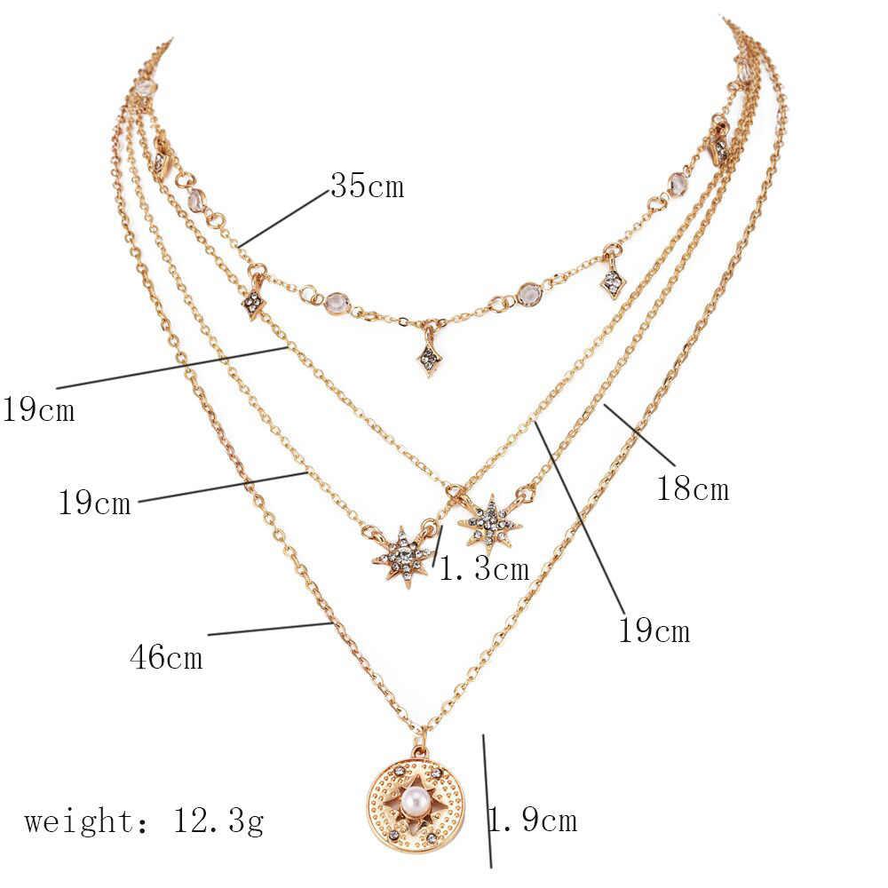 Goud kleur Choker Ketting voor vrouwen ronde crystal stars Hanger Chain Kettingen Veters fluwelen chokers Mode-sieraden