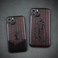 2021 nowe czarne drewno 11 Pro etui na iPhone 12 Pro Max etui drewniane silikonowe etui Coque na iPhone 12 7 8 Plus X Xr XS 11 Pro Max