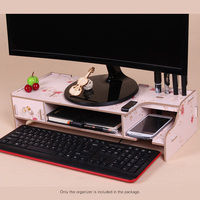 Wooden Monitor Stand Riser Computer Desk Organizer with Keyboard Mouse Storage Slots for Office Supplies School Teachers