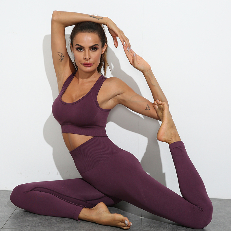 Women Seamless Yoga Set Fitness Sports Suits Gym Clothing Long Sleeve Crop Top Shirts High Waist Running Leggings Workout Pants