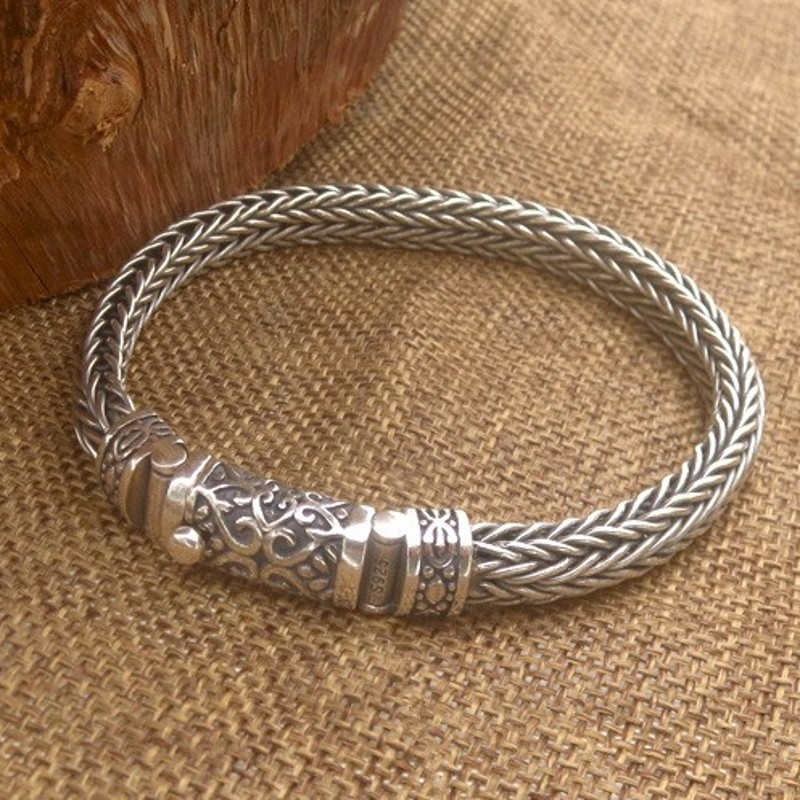 S925 Silver Pure Hand Woven 8mm Bracelet For Men Thai Silver Vintage Old 925 Sterling Silver Men Bracelet