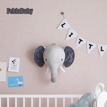 Мультяшный креативный скандинавский настенный Единорог голова слона животного Европейская плюшевая игрушка кукла для украшение детской комнаты подарок для детей