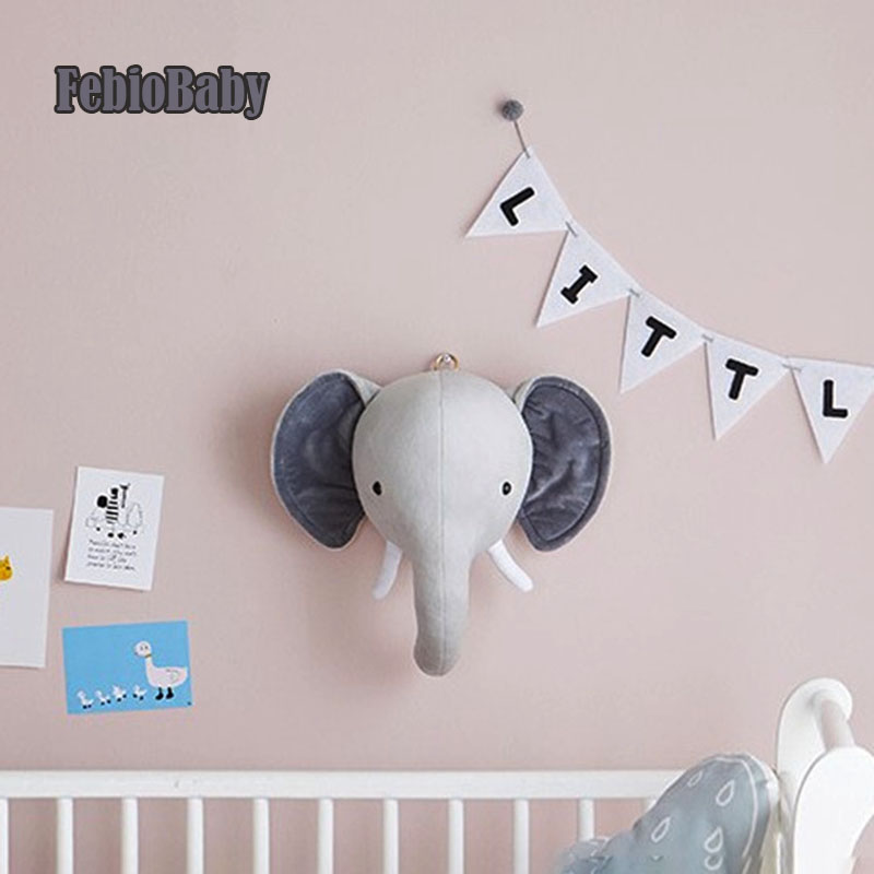 Cartoon Creative Nordic Wall Hanging Unicorn Elephant Animal Head European Plush Toy Doll For Baby Room Decoration Children Gift