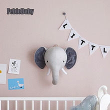 Cartoon Creative Nordic Wall Hanging Unicorn Elephant Animal Head European Plush Toy Doll For Baby Room Decoration Children Gift