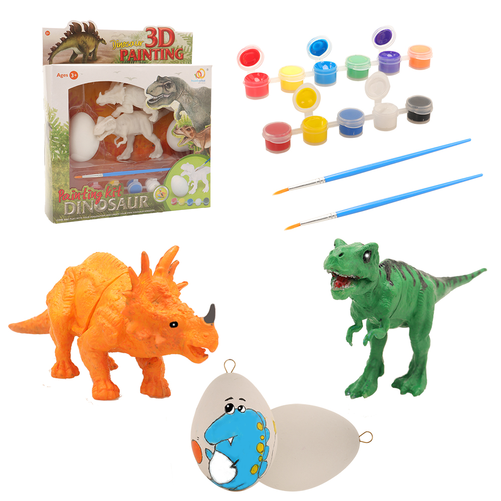 Dinosaur Craft 2 Easter Eggs Kids Toys DIY 3D Painting 2 Dinosaurs 10 Colors Paint For Chilren Arts And Craft Birthday Present