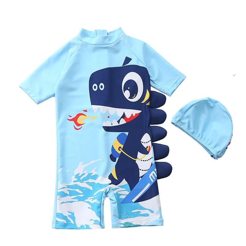 HH 2 sztuk 2021 letnie dziecko chłopcy stroje kąpielowe dla dzieci jednoczęściowy strój kąpielowy nastolatki Cartoon kostium kąpielowy i czepek odzież dziecięca