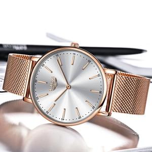 Image 4 - LIGE ผู้หญิงนาฬิกาผู้หญิง 2020 แฟชั่นสุภาพสตรีนาฬิกาข้อมือ Casual Grid สายคล้องเหล็ก Ultra บางนาฬิกาควอตซ์ผู้หญิง Relogio Feminino