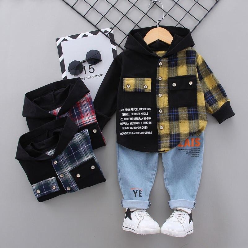 2020 Autumn Children Baby Clothes Kids Boys Girls Plaid Patchwork Hoodies Jacket Pants Sets Toddler Clothing Infant Tracksuits