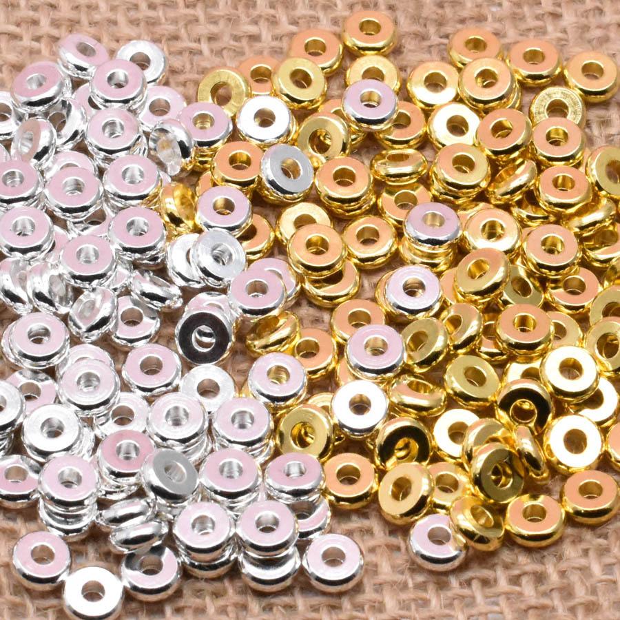 Yanqi AAA 4 6 8 мм разделительные металлические медные бусины золотые плоские круглые свободные бусины для изготовления ювелирных браслетов и ож...
