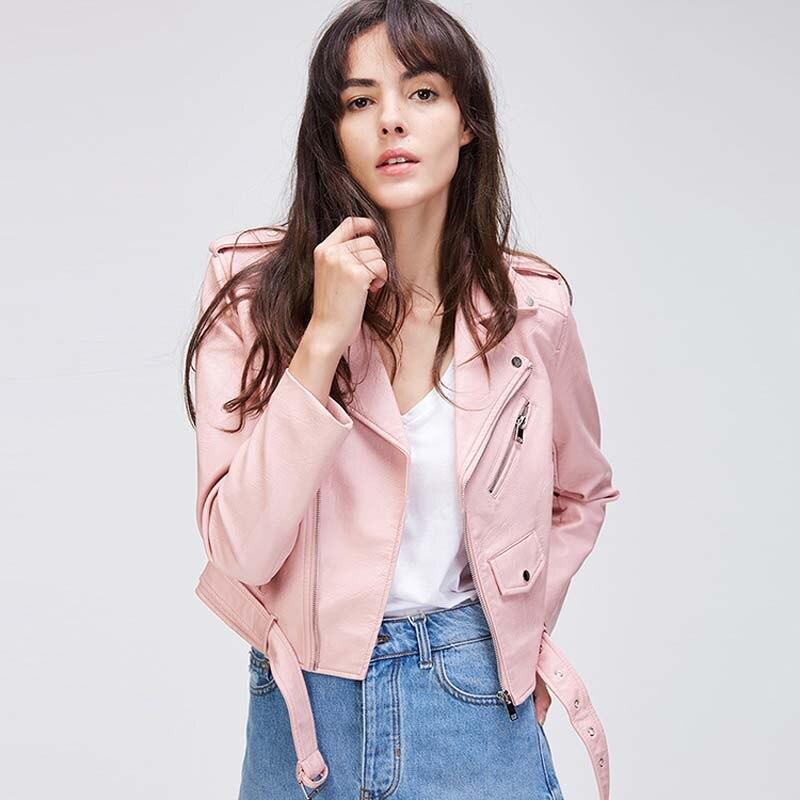 2019 autumn new casual women's street short locomotive punk wind belt   leather   jacket PU   leather   jacket female W697
