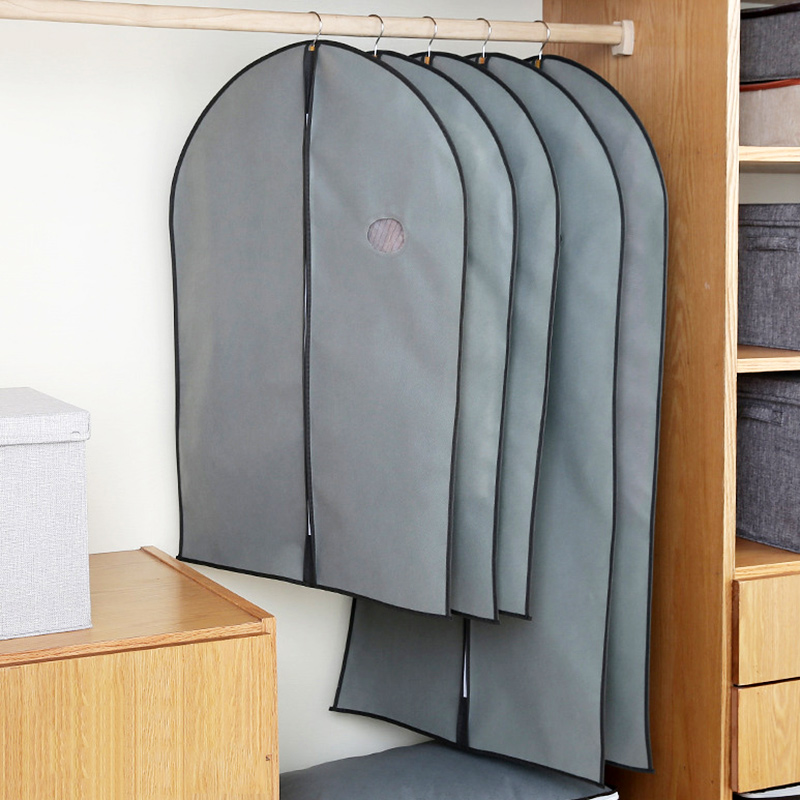 Non-Woven Clothes Dust Cover With A Zipper Folding Suit Bag Fabric Dress Sheath Wardrobe Clothing Storage Garment Hanging Bags