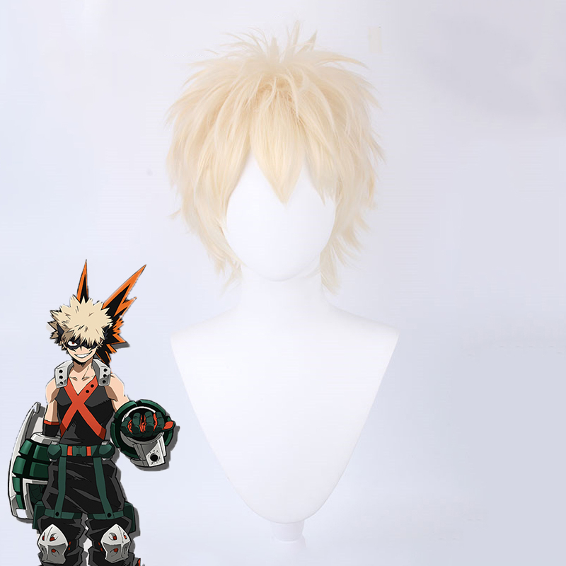 Anime <font><b>My</b></font> <font><b>Hero</b></font> <font><b>Academia</b></font> Baku No <font><b>Hero</b></font> Bakugou Katsuki <font><b>Bakugo</b></font> <font><b>Cosplay</b></font> Wig Short Synthetic Wig Party <font><b>Cosplay</b></font> Costume Wigs image