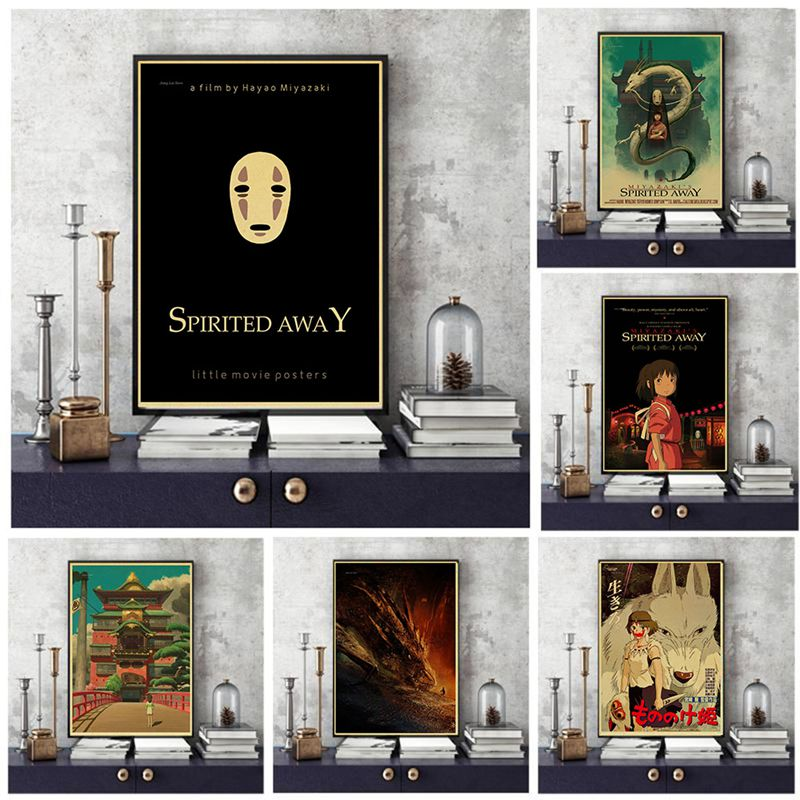 Miyazaki Hayao Spirited Away high quality Retro Poster Vintage poster Wall Decor For Home Bar Cafe image