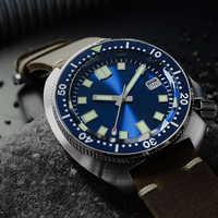 San Martin nouveau thon 6105 montres de plongée 200m résistant à l'eau requin bracelet en cuir eau fantôme hommes montres automatiques pour homme