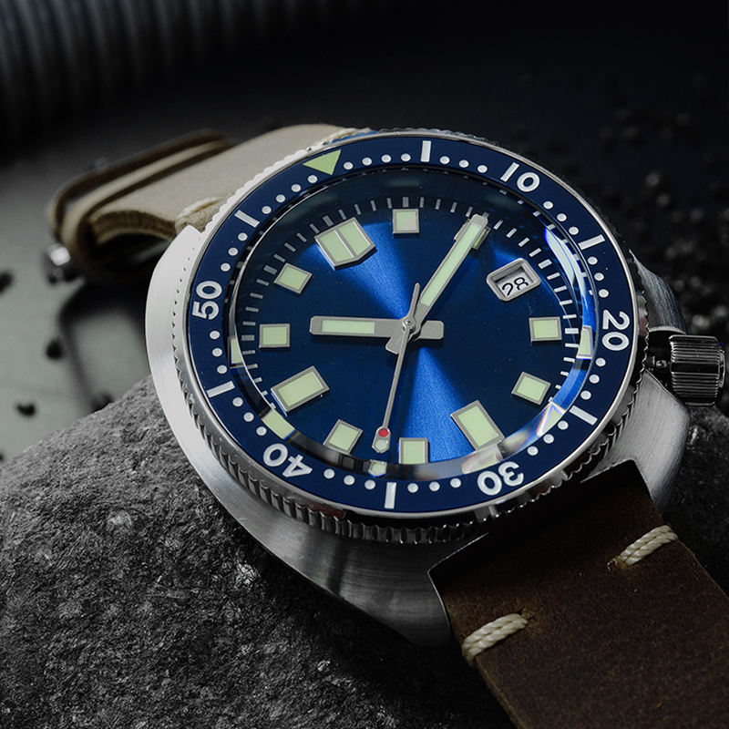 San Martin New Tuna 6105 diving watches 200m Water Resistant Shark leather strap water ghost men automatic wristwatches for male