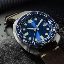 San Martin Nieuwe Tonijn 6105 duiken horloges 200m Waterbestendig Shark lederen band water ghost mannen automatische horloges voor mannelijke