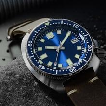 San martin relógios de mergulho, novo tuna 6105, 200m, resistente à água, tubarão, pulseira de couro, fantasma, relógios de pulso automáticos para homens masculino masculino