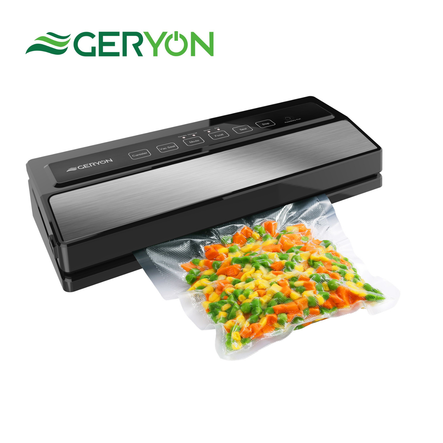 GERYON Best Vacuum Sealer Machine 220V/110V Automatic Dry and Moist Food Modes Degasser Vacuum Packer with 5pcs Packing Bags