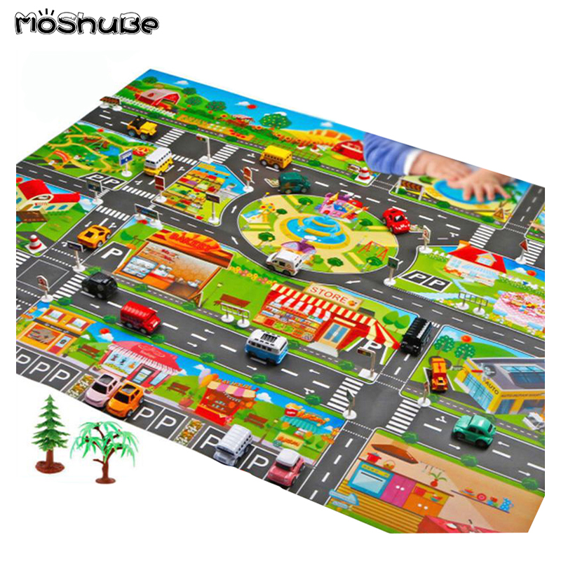 Children's Toys Traffic Road Parking Lot Map  English City Parking Lot Map Baby Play Game Mat Kids Carpet