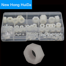 White Nylon Hex Nut Metric Thread Plastic Hexagon Nut Assortment kit Set M2 M2.5 M3 M4 M5 M6 M8 M10 M12