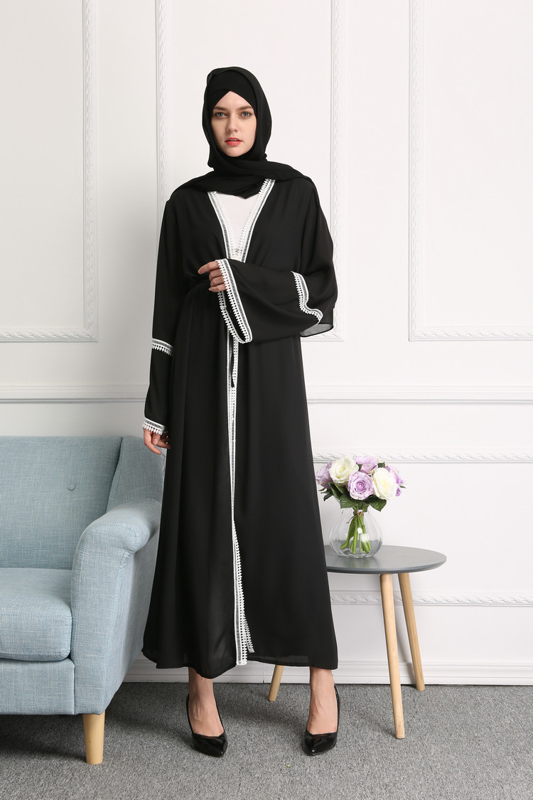 Casual Muslim Abaya Striped Dress Scarf Muslim Women's Abaya
