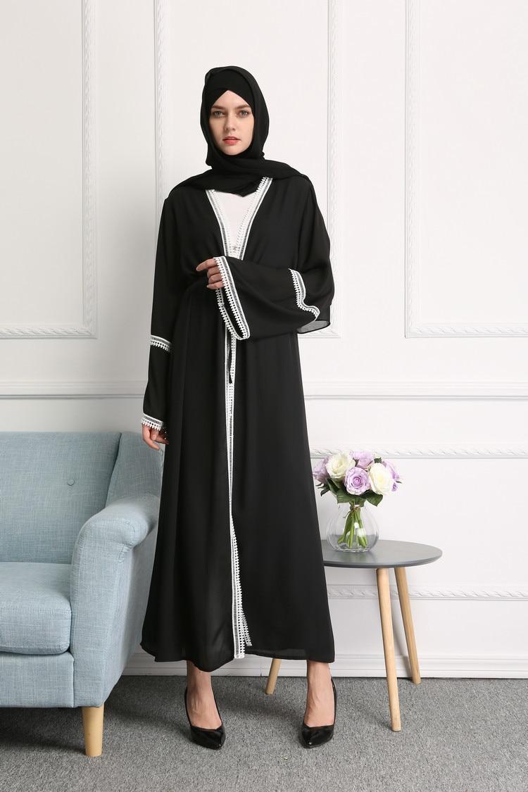 Casual Muslim Abaya Striped Dress Scarf Muslim Women's Abaya