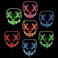 Cosmask Halloween Party Led Maske Masque Masquerade Neon Licht Glow In The Dark Mascara Horror Glowing Masken Kostüm Liefert