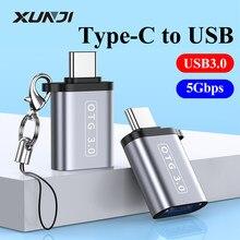 Xunji usb para tipo c adaptador otg usbc macho para usb 3.0 conversor feminino para macbook samsung xiaomi