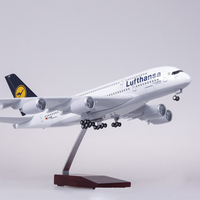 1:160 Airplane Airbus Lufthansa Airline Model A380 45.5CM Model W Light Wheel Diecast Plastic Resin Plane For Collection Gift