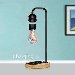 Novedad, LED magnético, Bombilla flotante de levitación, lámpara flotante de escritorio, cargador inalámbrico de tecnología negro mágico para teléfono, regalo de Navidad, nuevo